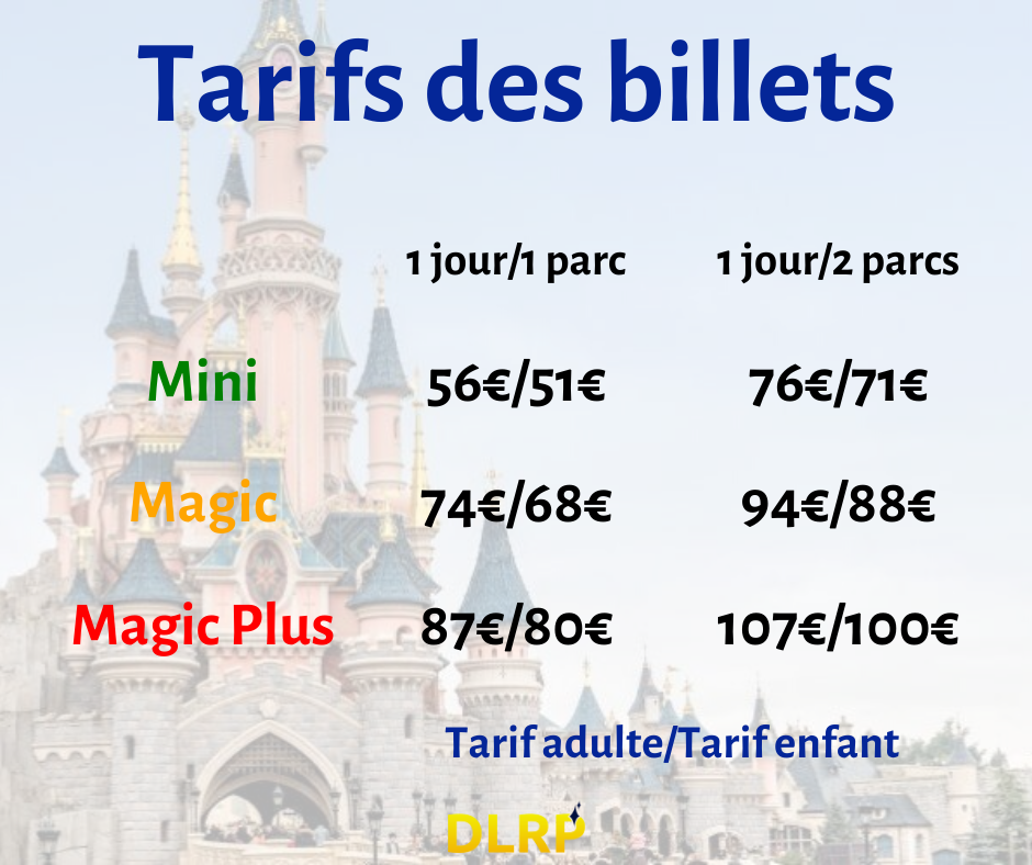 tarif billet disneyland paris
