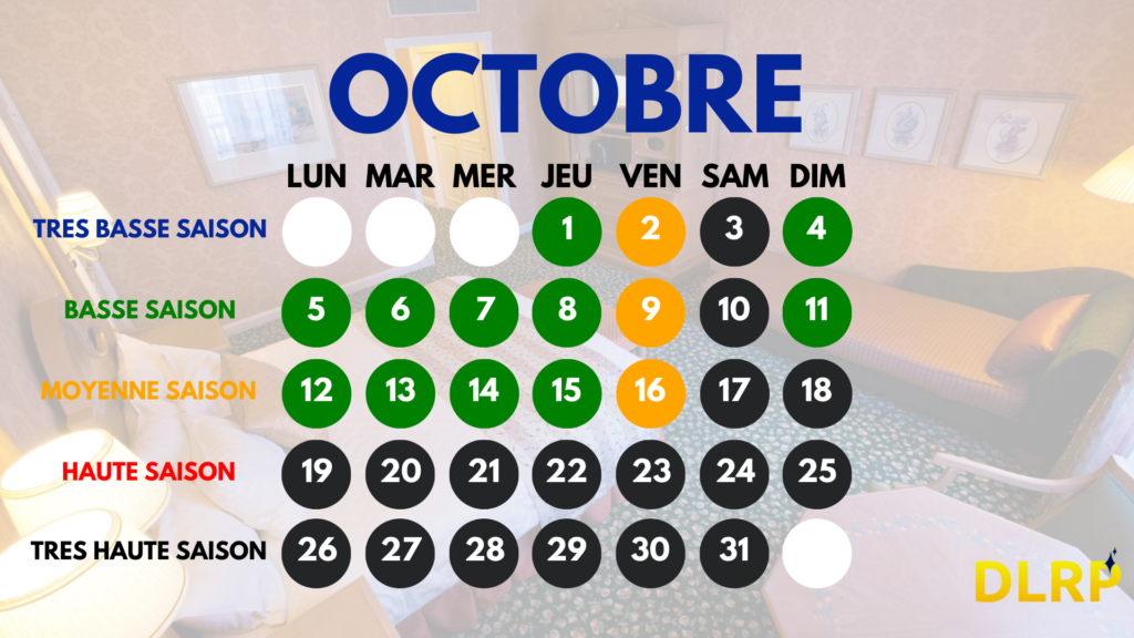 Hotels Disney calendrier octobre