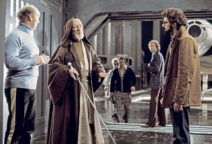 George Lucas directing Alec Guinness on set of Star Wars: A New Hope